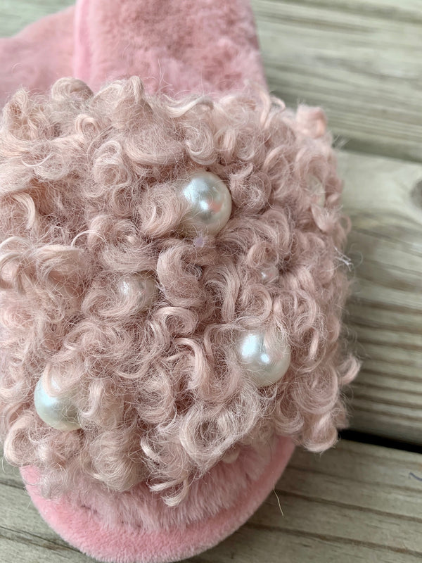 Curly Pearl Slippers Mauve