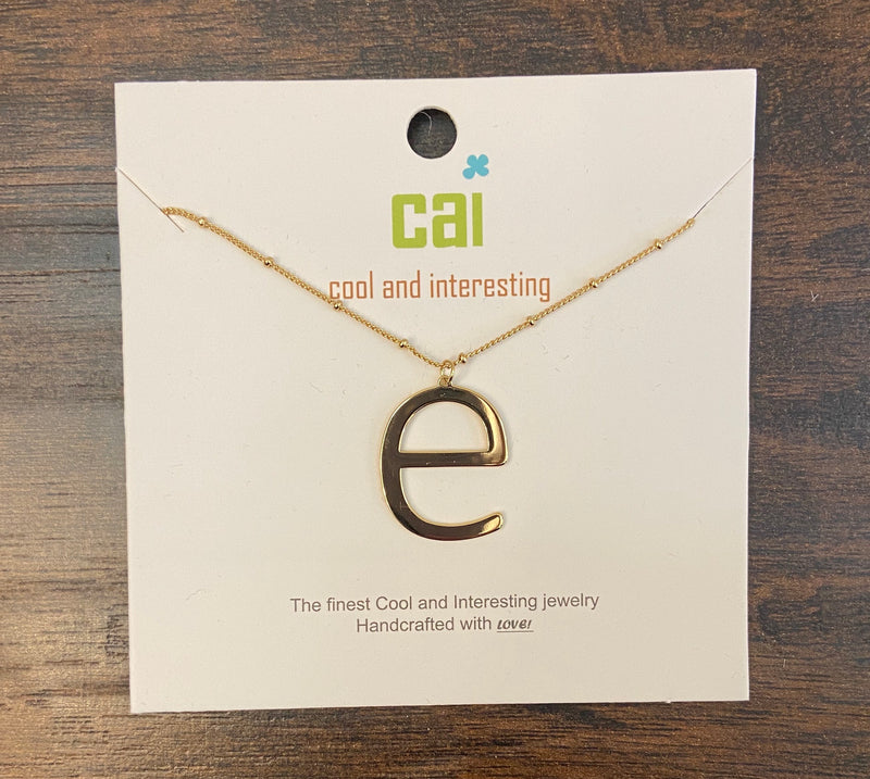 E Lowercase Initial Necklace