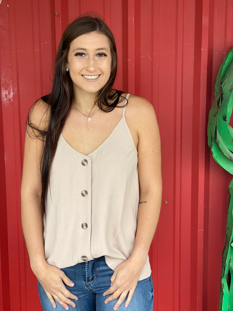 Button Down Tank in Sand