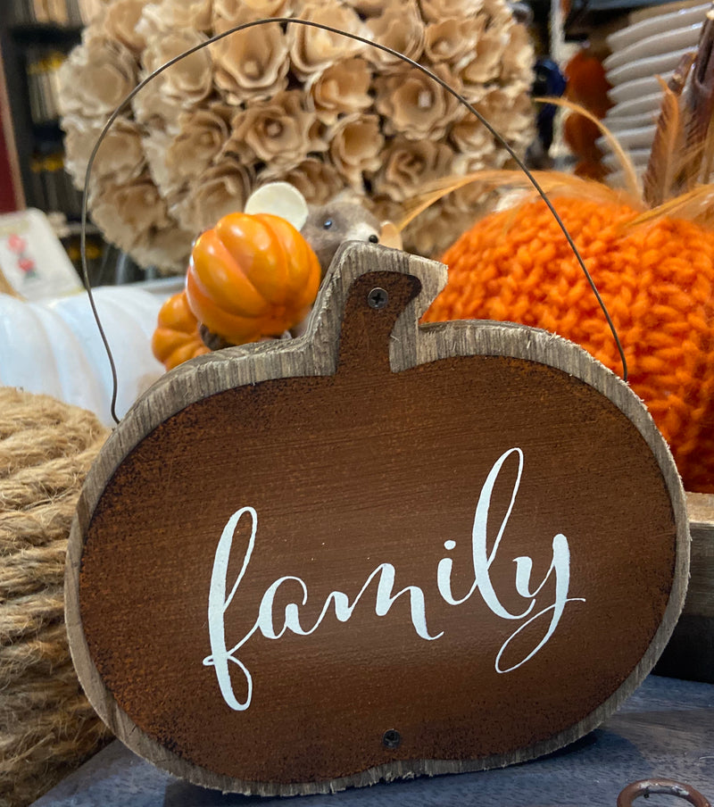 Assorted Barnwood and Tin Pumpkin Message Ornament Family