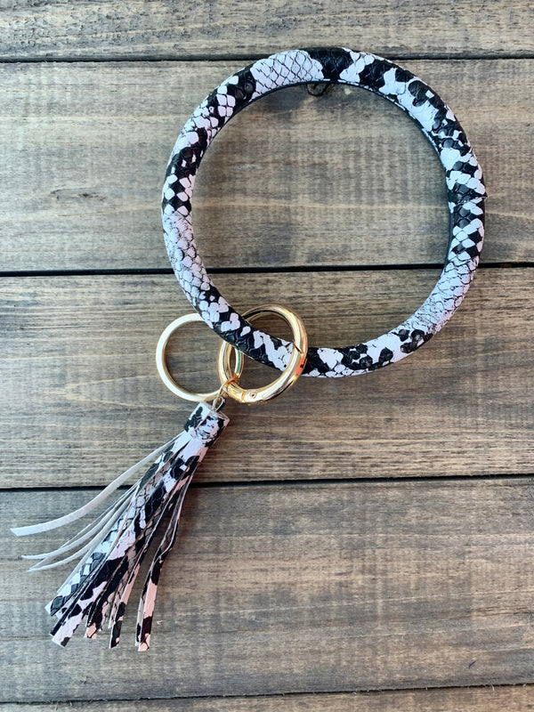 Snake White Bangle Keychain