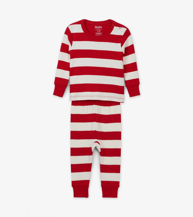 Candy Cane Stripe Organic Cotton Baby Pajama Set