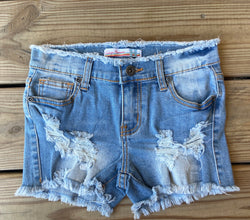 Distressed Medium Wash Jean Shorts