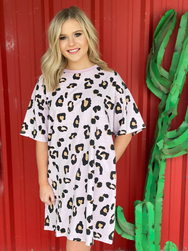 Short Sleeve Animal Print Top