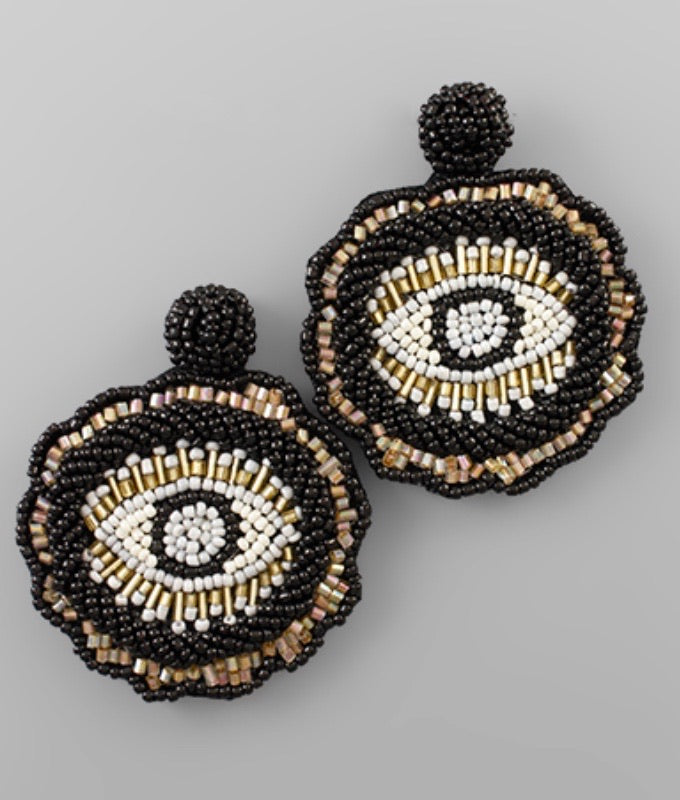Bead Evil Eye Disc Earrings Black & Multi