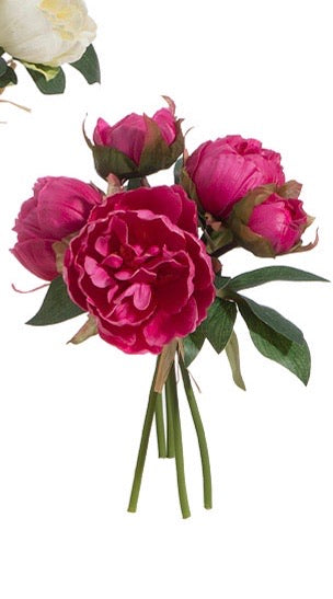 "Real Touch Peony Bundle 10"" Red"