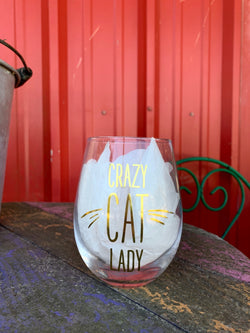 Crazy Cat Lady Glass Stemless Wine