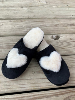 Plush Heart Slippers Black