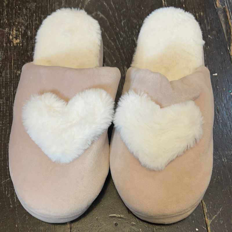 Plush Heart Slippers Tan