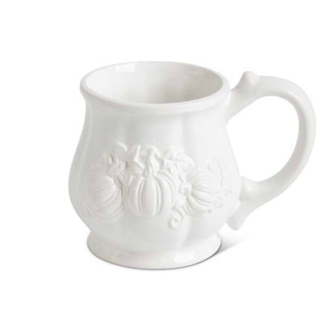 4.5 Inch White Dolomite Mug with Embossed Pumpkins