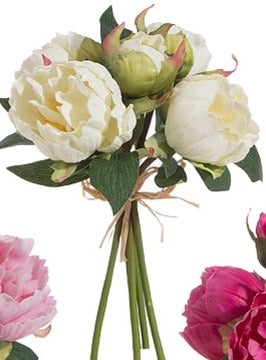 "Real Touch Peony Bundle 10"" White"