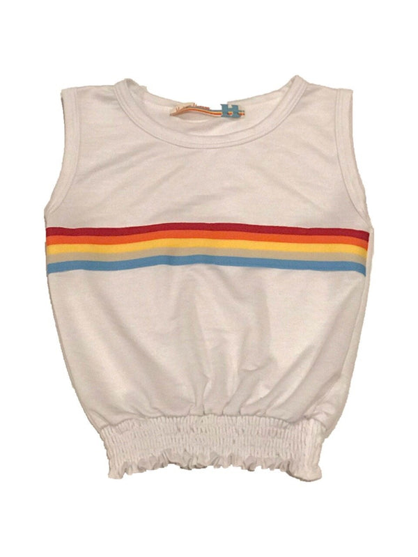 Rainbow Striped Smocked Bottom Tank