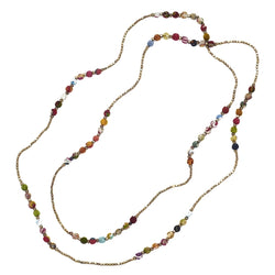 Sari Wrapped Bead and Chain Necklace