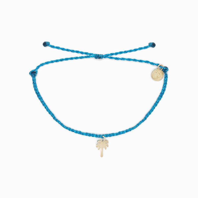 Palm Tree Bracelet Gold Neon Blue