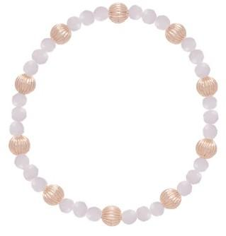 Rose Quartz Sincerity Pattern 4 mm Bead Bracelet Dignity Gold 6mm