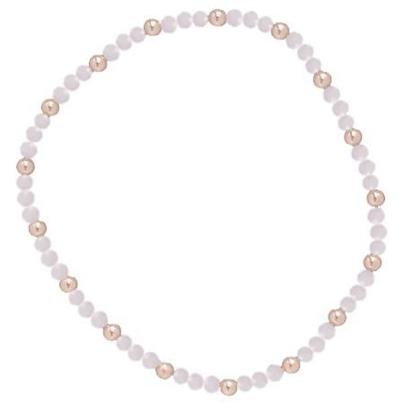 Rose Quartz Sincerity Pattern 3mm Bead Bracelet Gold