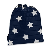 Navy with Star Puffer Drawstring Sling Bag