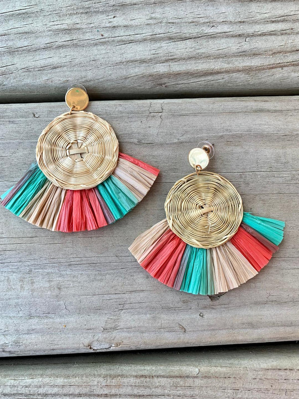 Disk Fan and Raffia Earrings Grey