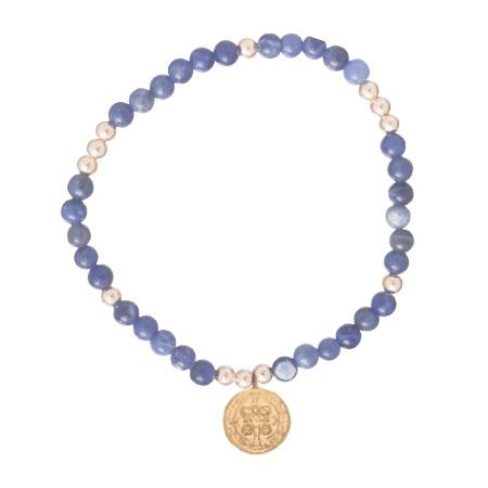 Worthy Pattern 4mm Bead bracelet Sodalite with Charm