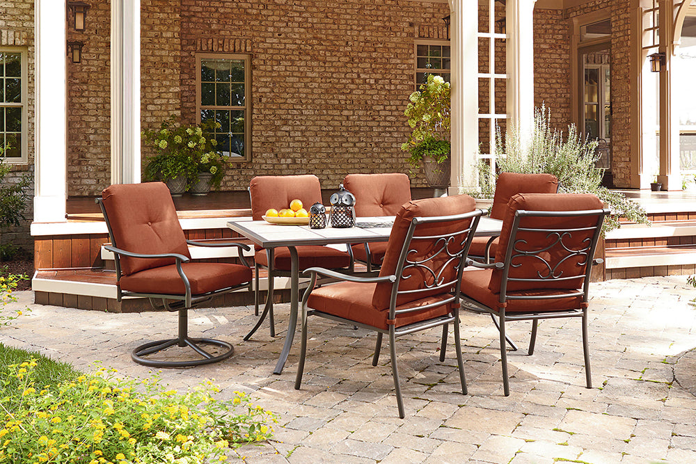 Jaclyn Smith Kmart Clermont 7PC Outdoor Patio Dining Furniture Set Red Rust