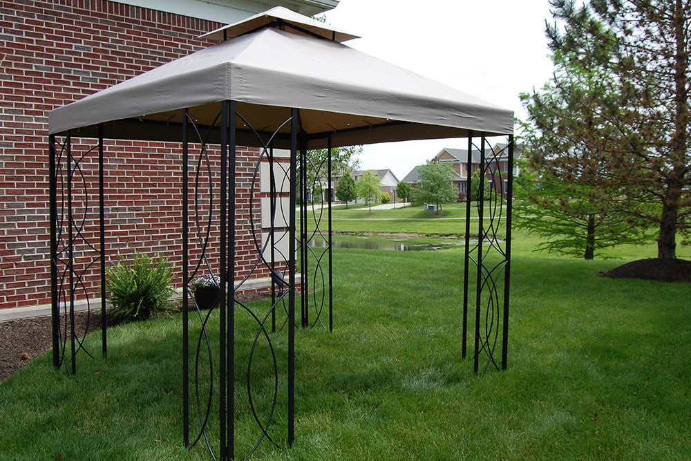 8x8 FT Lowes Steel Frame Gazebo With High Grade Canopy 300D Polyester The Outdoor Patio Store