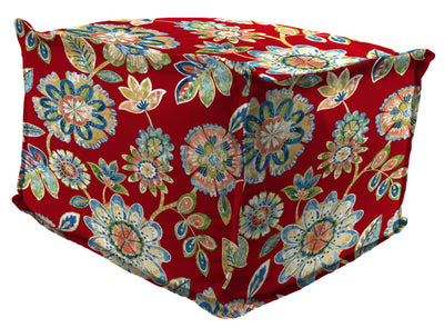 "20"" Square Outdoor Bead Filled Pouf/Ottoman-DAELYN CHERRY RICHLOOM"