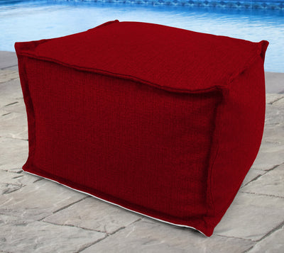 "20"" Square Outdoor Bead Filled Pouf/Ottoman-MCHUSK BERRY RICHLOOM"