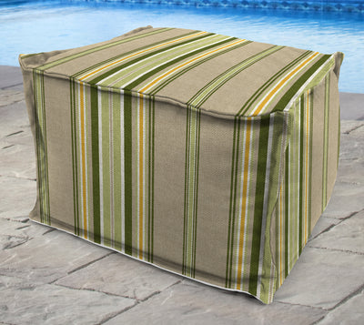 "20"" Square Outdoor Bead Filled Pouf/Ottoman-TERRACE SUNRISE RICHLOOM"