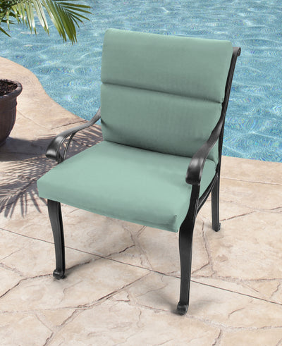 Outdoor French Edge Dining Chair Cushion- Sunbrella CANVAS SPA ACR GLEN RAVEN