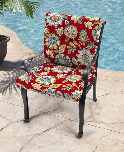 Outdoor French Edge Dining Chair Cushion-DAELYN CHERRY RICHLOOM