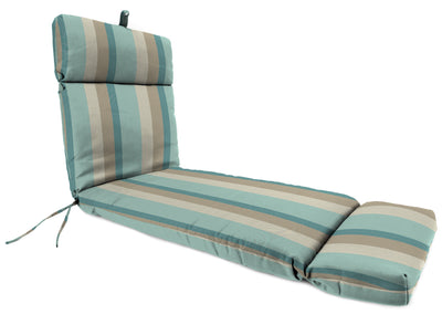 Outdoor French Edge Chaise Lounge Cushion- Sunbrella GETAWAY MIST GLEN RAVEN