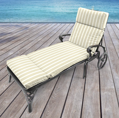 Outdoor French Edge Chaise Lounge Cushion- Sunbrella CAST MIST GLEN RAVEN