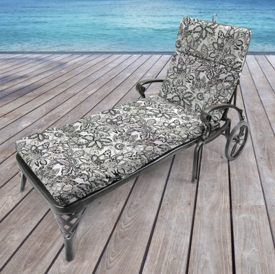 Outdoor French Edge Chaise Lounge Cushion-COPELAND NOIR RICHLOOM