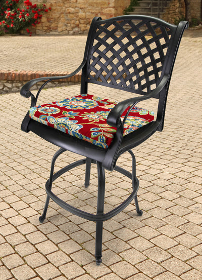 Outdoor French Edge Seat Cushion-DAELYN CHERRY RICHLOOM