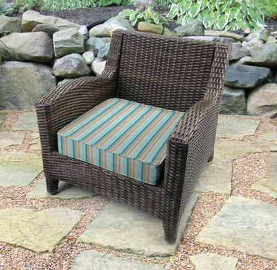 Outdoor Boxed Edge Deep Seat Cushion- Sunbrella GETAWAY MIST GLEN RAVEN