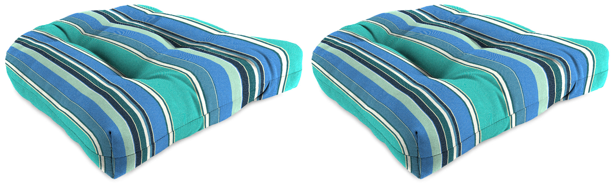 "Set of 2 Outdoor 18"" Wicker Chair Cushions-Sunbrella DOLCE STR OASIS ACR GLEN RAVEN"