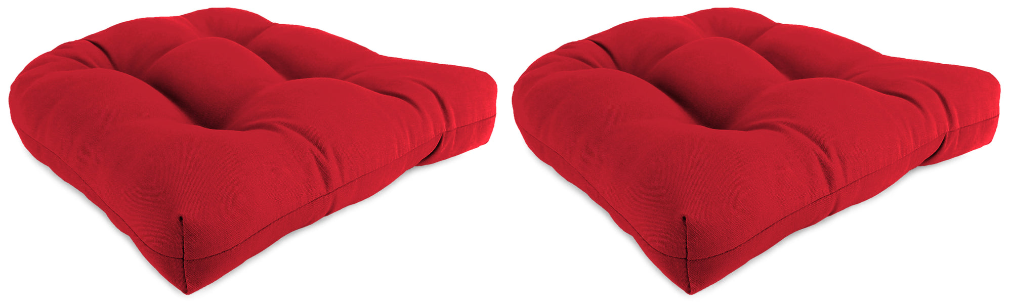 "Set of 2 Outdoor 18"" Wicker Chair Cushions-Sunbrella CANVAS JOCKEY ACR RED ACR GLEN RAVEN"