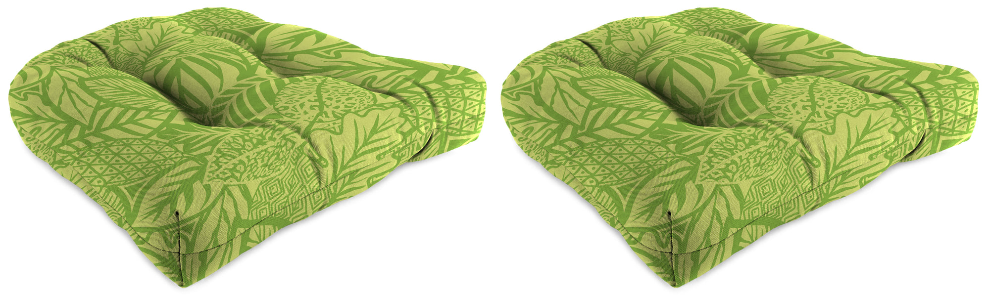 "Set of 2 Outdoor 18"" Wicker Chair Cushions-MAVEN LEAF RICHLOOM"