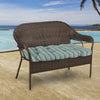"Outdoor 44"" Wicker Loveseat Cushion-Sunbrella GETAWAY MIST GLEN RAVEN"