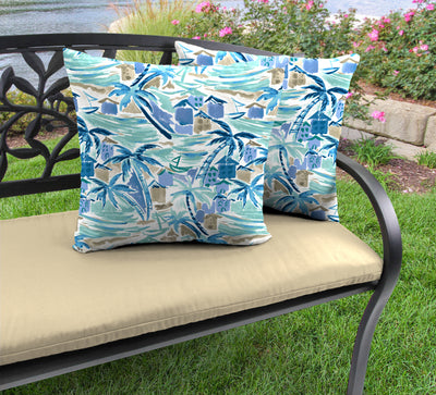 "20"" Outdoor Accessory Throw Pillows, Set of 2-BALLYFIN BAY BLUE RICHLOOM"
