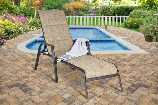 Harrington Padded Sling Chaise Lounge, Brown