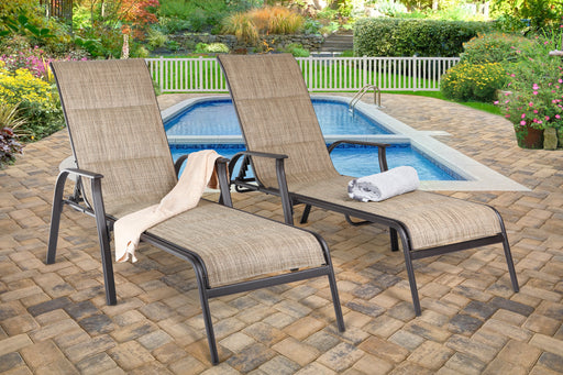 Harrington Padded Sling Chaise Lounge (2) Brown