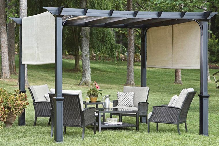 Garden Treasures 10u0027 Pergola Canopy With Ties & Canopy Outdoor Furniture - Home Design Ideas and Pictures
