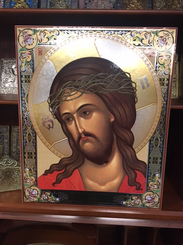 "16"" high by 13"" wide print icon of Christ with crown of thorns"