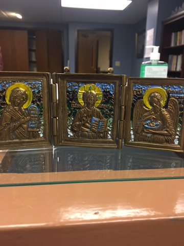 Metal Triptych of Christ the Savior, the  Theotokos, St. John the Forerunner