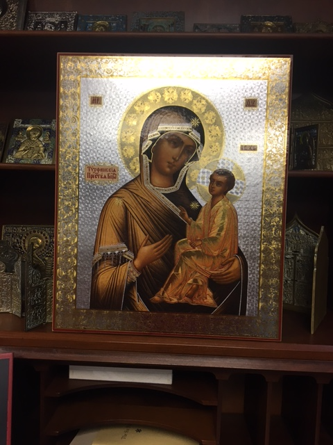 "16"" high by 13"" wide print icon of Virgin of Tikhvin"