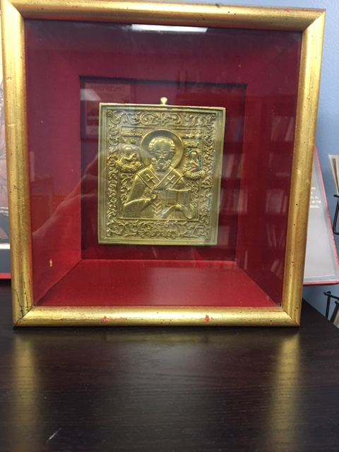 Encased 19th Century brass  icon of St. Nicholas