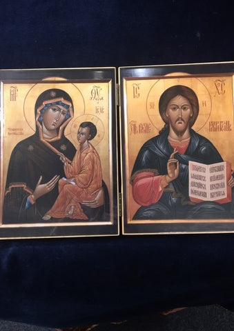 folding icon of Christ the Savior and Tikhvin Theotokos