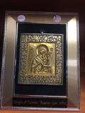 Framed brass enameled Virgin of Tikhvin