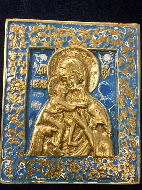metal enameled icon of the Theotokos